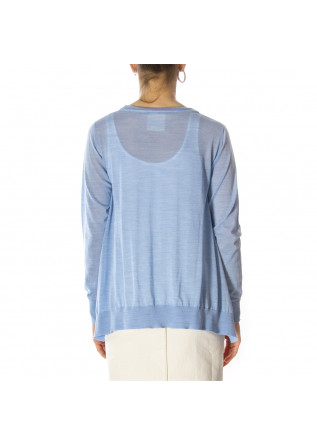 WOMEN'S CLOTHING SWEATER VIRGIN WOOL LIGHT BLUE SEMICOUTURE