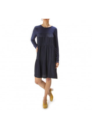 WOMEN'S CLOTHING DRESS SILK / VISCOSE NAVY BLUE SEMICOUTURE