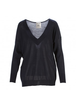 WOMEN'S CLOTHING SWEATER VIRGIN WOOL NAVY BLUE SEMICOUTURE