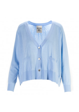 WOMEN'S CLOTHING CARDIGAN COTTON JERSEY LIGHT BLUE SEMICOUTURE