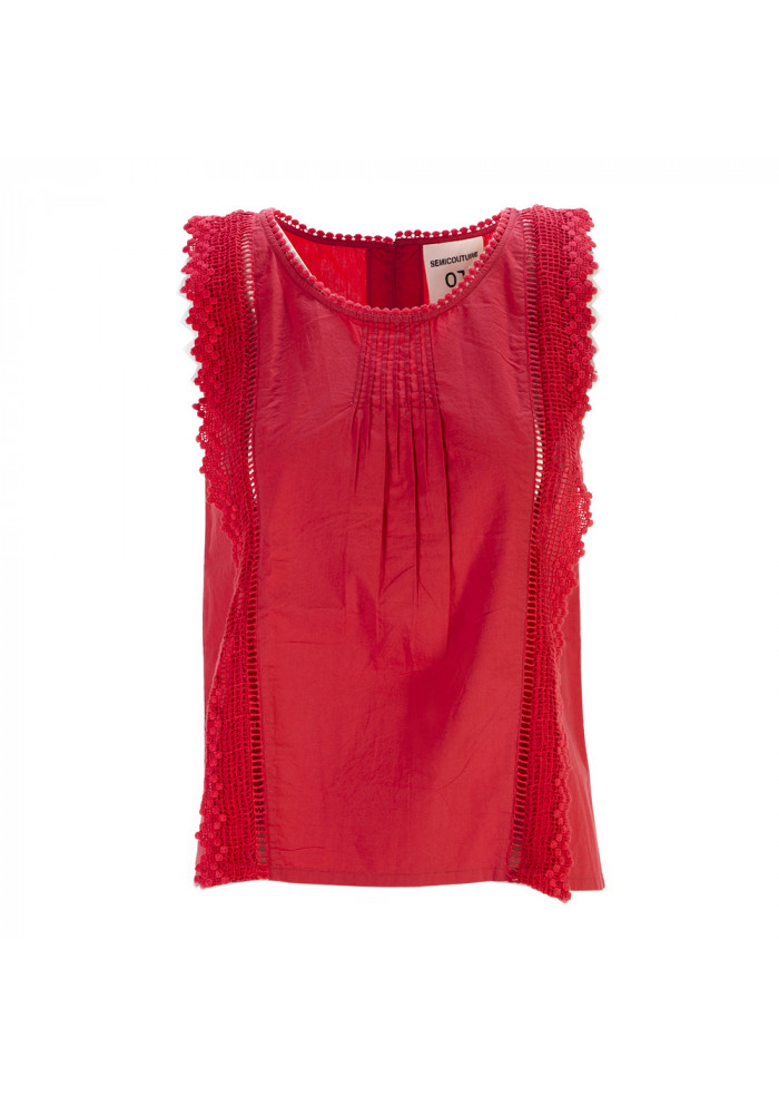 WOMEN'S CLOTHING TOP SLEEVELESS COTTON RED SEMICOUTURE
