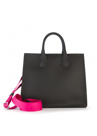 WOMEN'S BAGS SHOPPER BAG VINYL BLACK FUXIA GUM CHIARINI