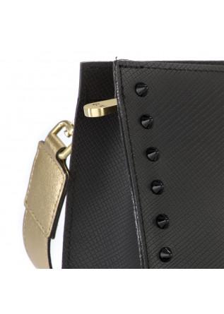 WOMEN'S BAGS CLUTCH VINYL MATT BLACK / GOLDEN GUM CHIARINI