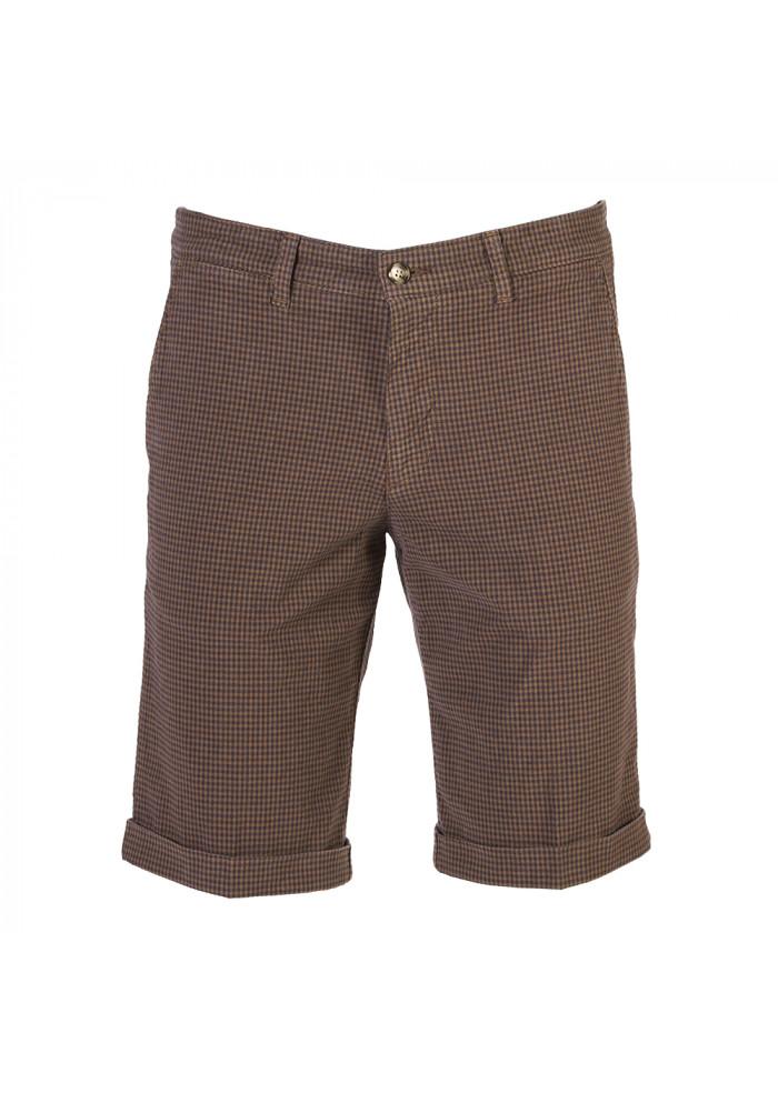 MEN'S CLOTHING CHINO SHORTS COTTON VICHY PRINT BROWN BRIGLIA