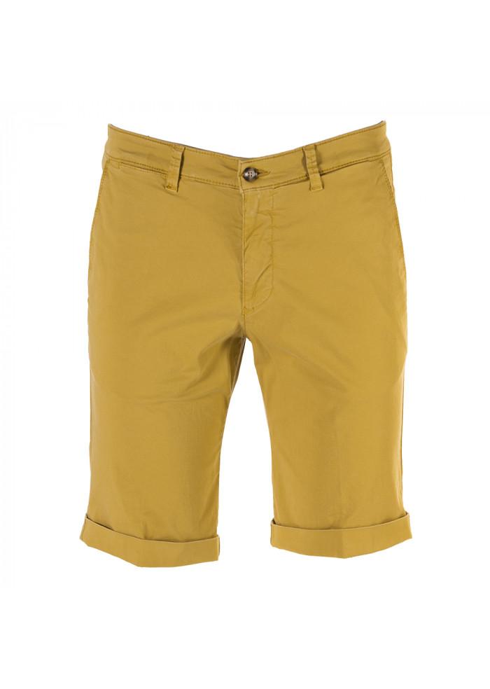 MEN'S CLOTHING SHORTS CHINO COTTON STRETCH MUSTARD YELLOW BRIGLIA
