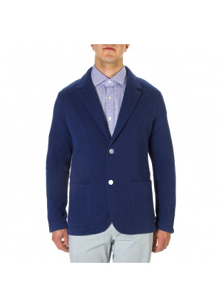 MEN'S CLOTHING JACKET ELASTICIZED COTTON BLUE MELANGE WOOL & CO