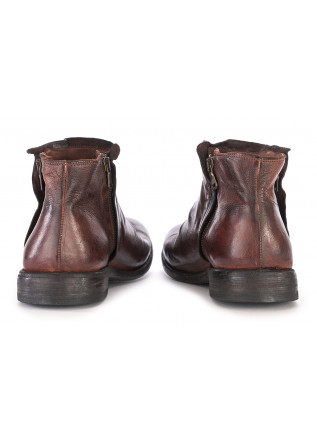 MEN'S SHOES ANKLE BOOTS LEATHER HANDMADE DARK BROWN MANOVIA 52