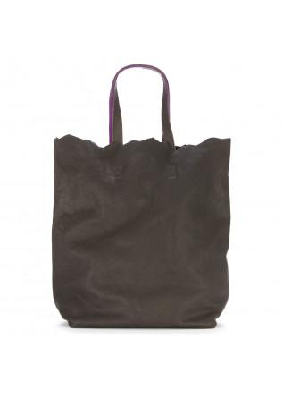 WOMEN'S BAGS SHOULDER BAG SHOPPER HAND DYED LEATHER BROWN PURPLE JDK