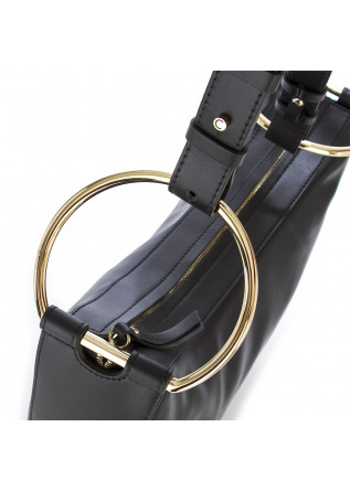 WOMEN'S SHOULDER BAG LEATHER GOLDEN RINGS BLACK GIANNI CHIARINI