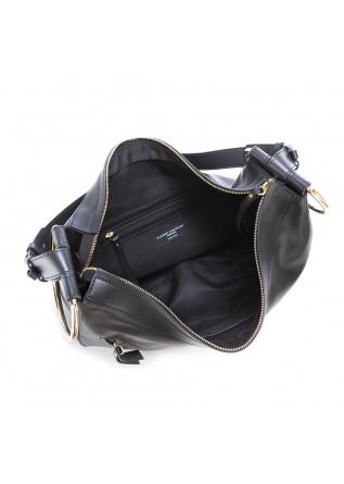 WOMEN'S SHOULDER BAG LEATHER GOLDEN RINGS BLACK GIANNI CHIARINI