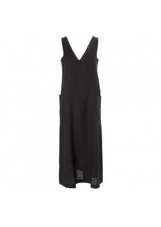 WOMEN'S CLOTHING DRESS IN LINEN V-NECK BLACK COTTON OTTOD'AME