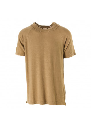 MEN'S CLOTHING T-SHIRT STRETCH LINEN CAMEL BROWN DANIELE FIESOLI