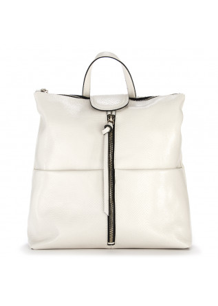 WOMEN'S BAGS BACKPACK GENUINE POLISHED LEATHER WHITE GIANNI CHIARINI