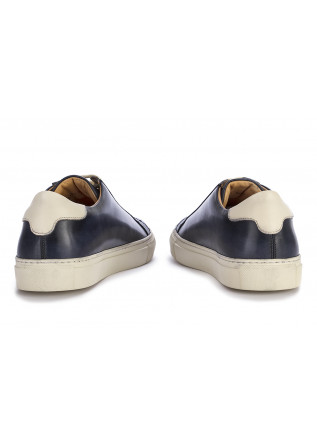 MEN'S SHOES SNEAKERS LEATHER BLUE NAVY DELAVE'