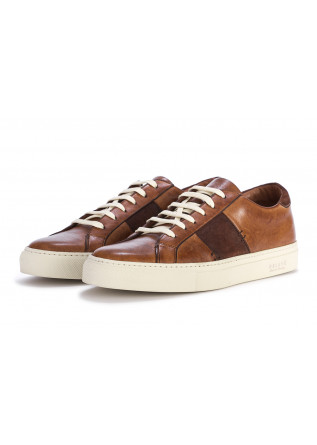 MEN'S SHOES SNEAKERS GENUINE LEATHER COGNAC DARK BROWN DELAVE'