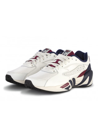 MEN'S SHOES SNEAKERS MAXI SOLE LEATHER WHITE BLUE BORDEAUX FILA