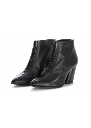 WOMEN'S ANKLE BOOTS HALMANERA | LEATHER GLOSSY BLACK
