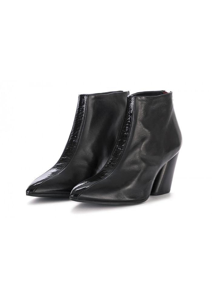 WOMEN'S ANKLE BOOTS HALMANERA   LEATHER GLOSSY BLACK