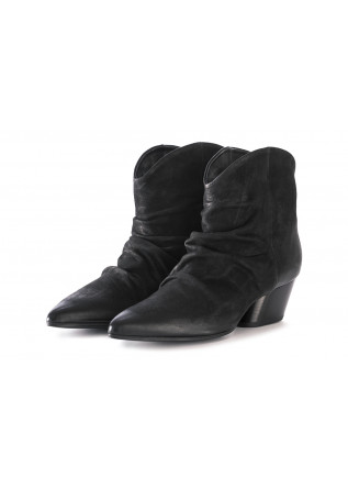 WOMEN'S SHOES ANKLE BOOTS LEATHER BLACK HALMANERA