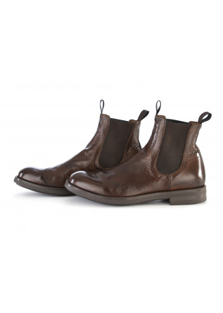 MEN'S SHOES CHELSEA BOOTS HANDMADE LEATHER DARK BROWN OFFICINE CREATIVE