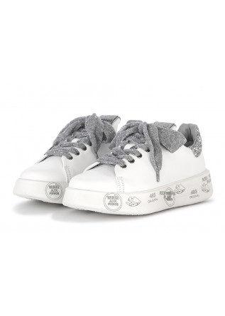 WOMEN'S SHOES LEATHER SNEAKERS WHITE/GLITTER PREMIATA