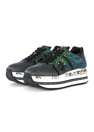 WOMEN'S SHOES SNEAKERS LEATHER / GLITTER GREEN PREMIATA