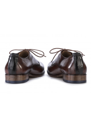 MEN'S SHOES LACE-UP FLAT SHOES GENUINE LEATHER BROWN LORENZI