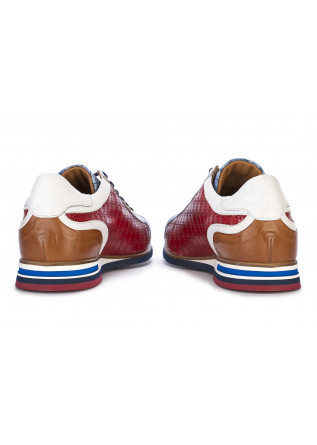 MEN'S SHOES FLAT LACE-UP SHOES LEATHER RED BLUE WHITE BROWN LORENZI