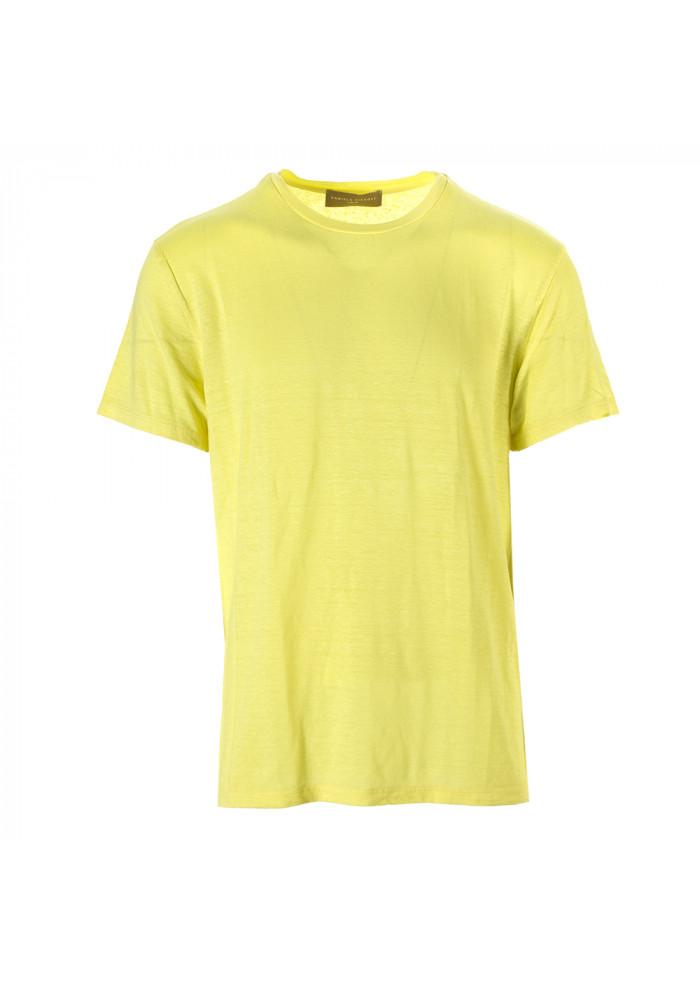 MEN'S CLOTHING T-SHIRT STRETCH LINEN YELLOW DANIELE FIESOLI