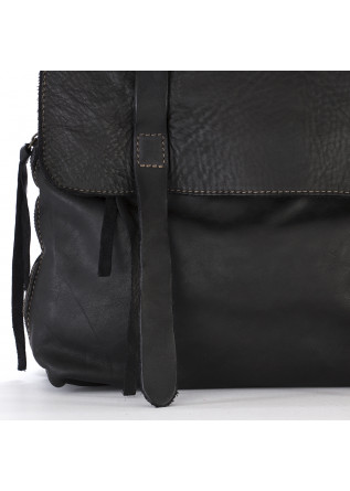 WOMEN'S BAGS BACKPACK BLACK LEATHER MANUFATTO ITALIANO 1956