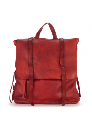 WOMEN'S BAGS BACKPACK GENUINE LEATHER RED MANUFATTO ITALIANO 1956
