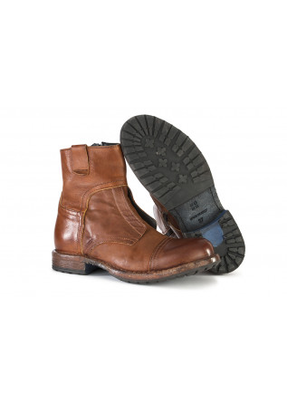 WOMEN'S SHOES ANKLE BOOTS LEATHER HANDMADE BROWN MOMA