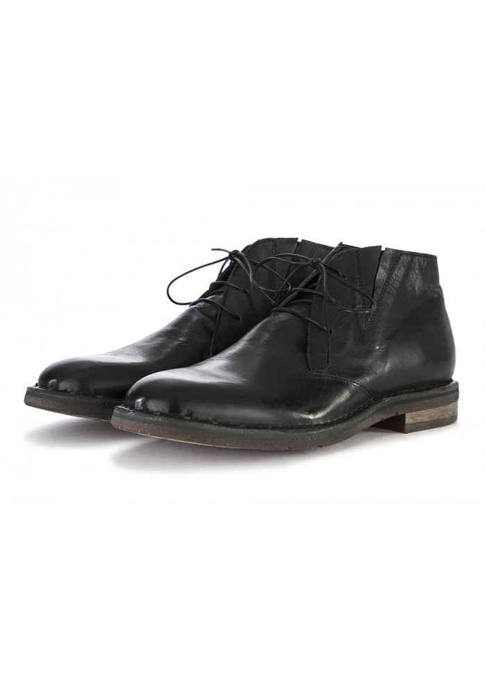 MEN'S SHOES LACE UP BOOTS NAPPA LEATHER HANDMADE BLACK MOMA