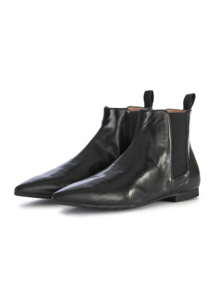 WOMEN'S SHOES CHELSEA POINTY BOOTS GENUINE LEATHER BLACK MARA BINI