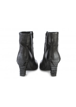 WOMEN'S SHOES HEEL BOOTS LEATHER SILVER BLACK PAPUCEI