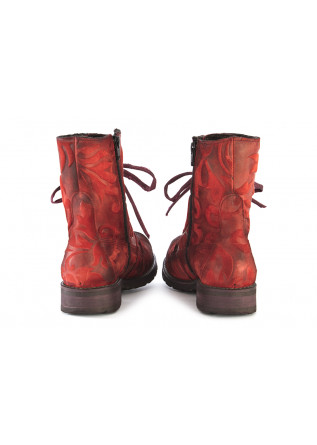 WOMEN'S SHOES BOOTS LEATHER RED / BLACK PAPUCEI