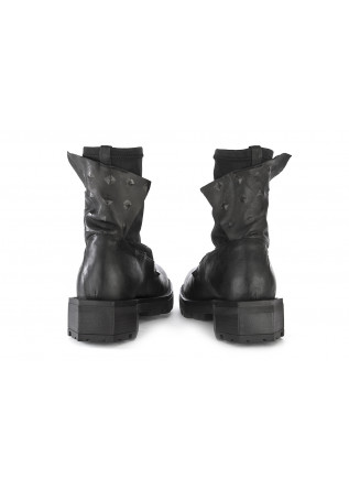 WOMEN'S SHOES BOOTS LEATHER WITH METAL STUDS BLACK PAPUCEI