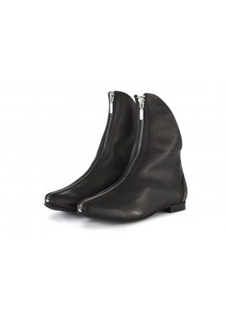 WOMEN'S SHOES POINTY BOOTS LEATHER BLACK PAPUCEI