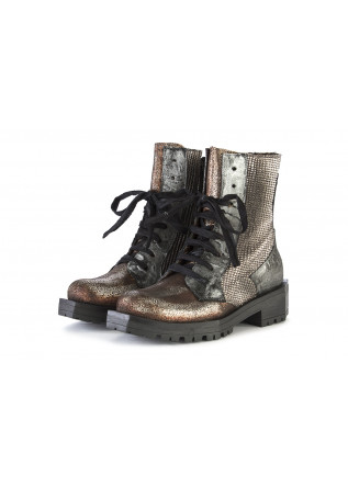 WOMEN'S SHOES BOOTS GENUINE LEATHER SILVER / BRONZE PAPUCEI