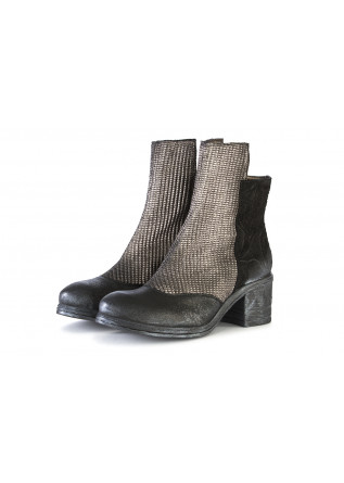 WOMEN'S SHOES BOOTS LEATHER BLACK / SILVER PAPUCEI