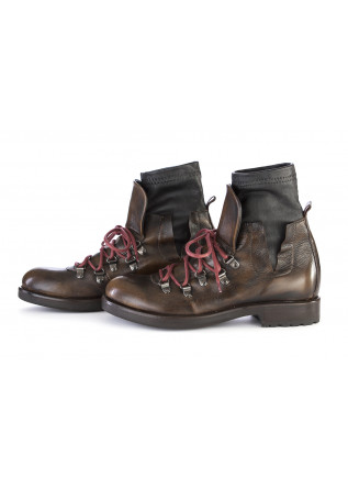 WOMEN'S SHOES ANKLE BOOTS GENUINE LEATHER BROWN KOBRA