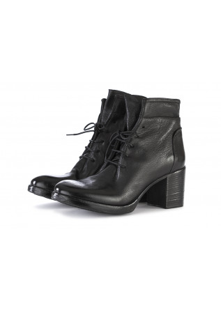 WOMEN'S SHOES ANKLE BOOTS GENUINE LEATHER BLACK HUNDRED 100