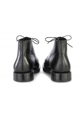 MEN'S SHOES LACE ANKLE BOOTS GENUINE LEATHER BLACK TON GOUT