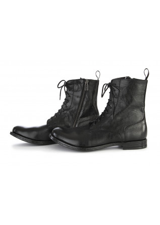 MEN'S SHOES ANKLE BOOTS GENUINE LEATHER BLACK/RED TON GOUT