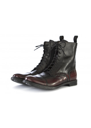 MEN'S SHOES ANKLE BOOTS GENUINE LEATHER BLACK RED TON GOUT