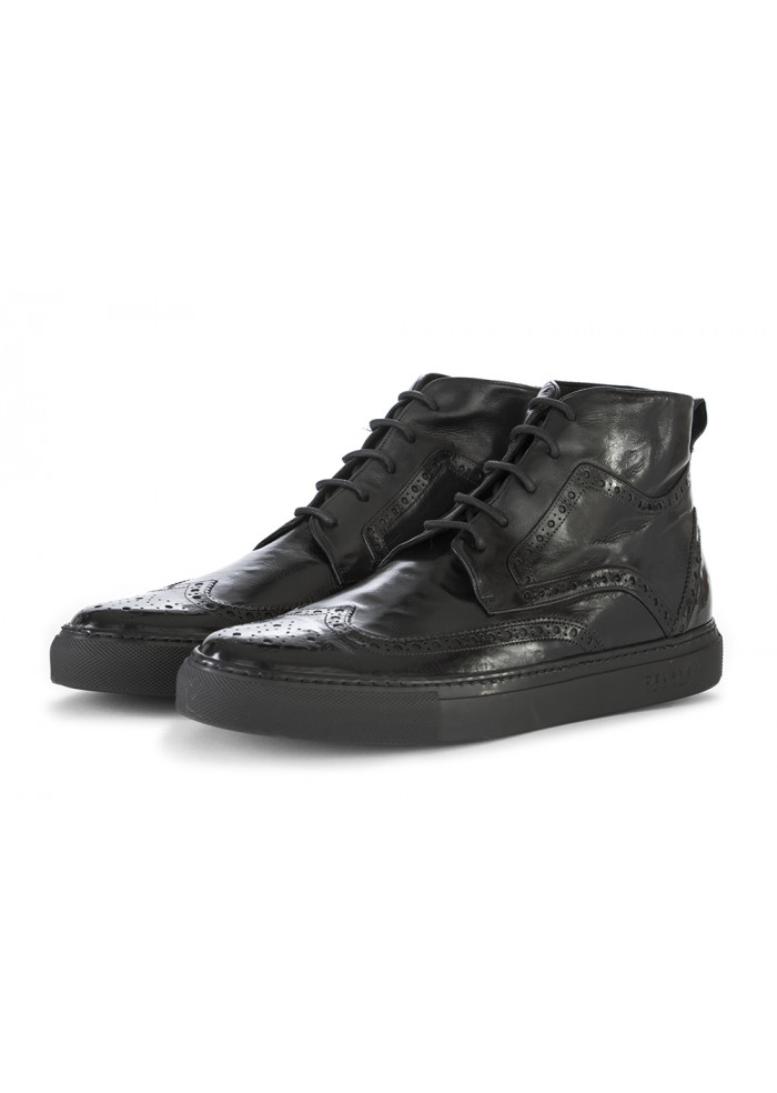 MEN'S SHOES SNEAKERS GENUINE LEATHER BLACK DELAVE'