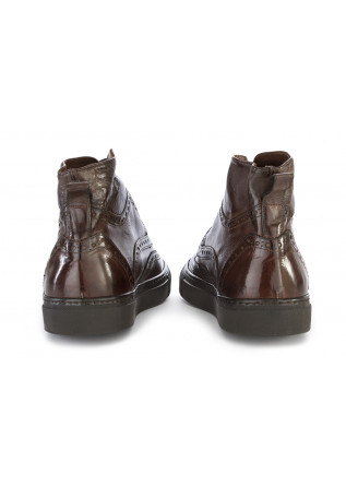 MEN'S SHOES SNEAKERS GENUINE LEATHER COFFEE BROWN DELAVE'