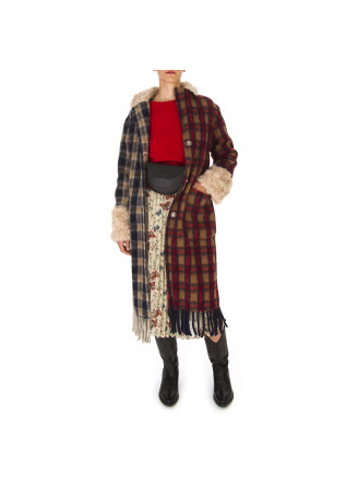 WOMEN'S CLOTHING COAT TARTAN BLUE BORDEAUX BEIGE MENU DU JOUR