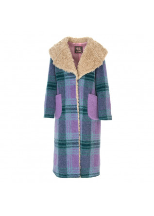 WOMEN'S CLOTHING COAT TARTAN BLUE / VIOLET / GREEN MENU DU JOUR