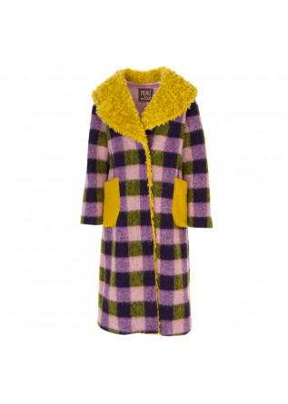 WOMEN'S CLOTHING COAT TARTAN PINK / VIOLET / YELLOW MENU DU JOUR